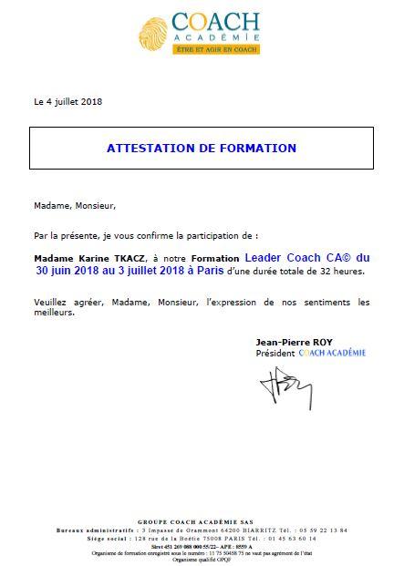 Attestation de formation LEADER COACH école Coach Académie juin 2018